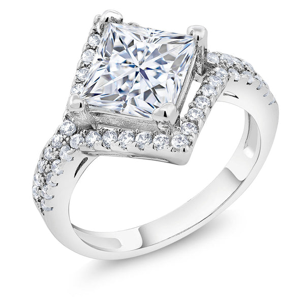 3.50 Ct Modern Bridal Princess Cut White Cubic Zirconia CZ Engagement Ring