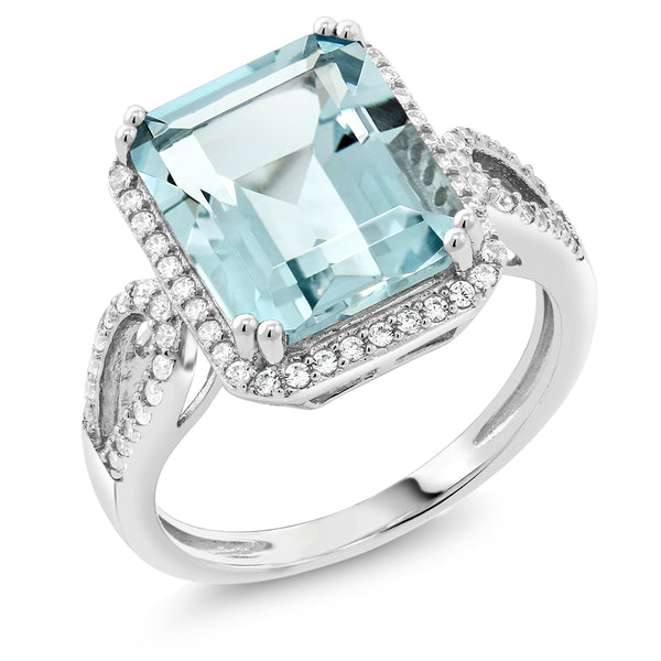 5.00 Ct Antique Women's 925 Sterling Silver Octagon Cut Created Aquamarine Ring