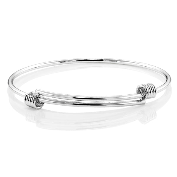 Gem Stone King White Rhodium Plated Pull Out Adjustable Bangle Bracelet Fits Up to 7inches Wrist