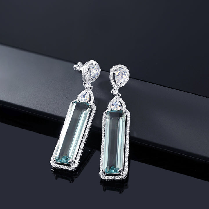 925 Sterling Silver Baguette Cut Simulated Aquamarine & White CZ Dangle Earrings