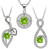 "Gem Stone King Round Green Peridot 925 Sterling Silver Pendant with 18"" Silver Chain"