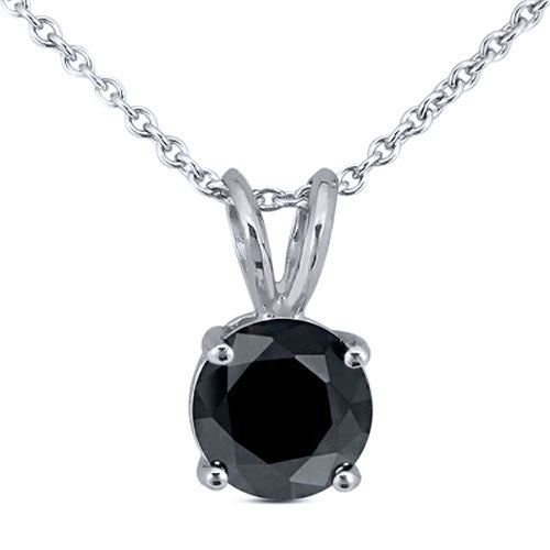 Gem Stone King 0.50ctw Round Black Diamond in 925 Sterling Silver Pendant with 18inches Chain