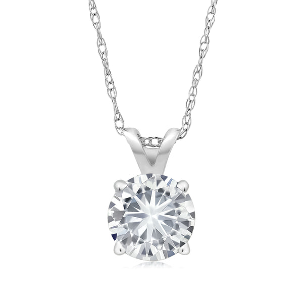 Forever Classic 0.80cttw DEW Created Moissanite Solitaire Pendant 14K White Gold