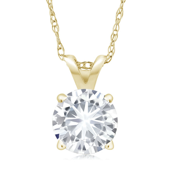 Forever Classic 0.80cttw DEW Created Moissanite Pendant 14K Yellow Gold