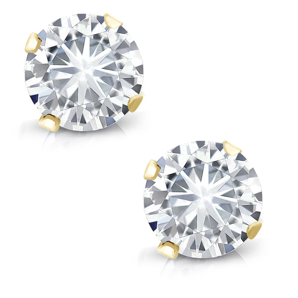Charles&Colvard Forever Classic 0.46cttw DEW Moissanite Studs in 14K Yellow Gold