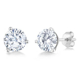 Charles & Colvard Forever Classic 6mm 1.60cttw DEW White Created Moissanite 14K White Gold Friction Back Round Martini Stud Earrings