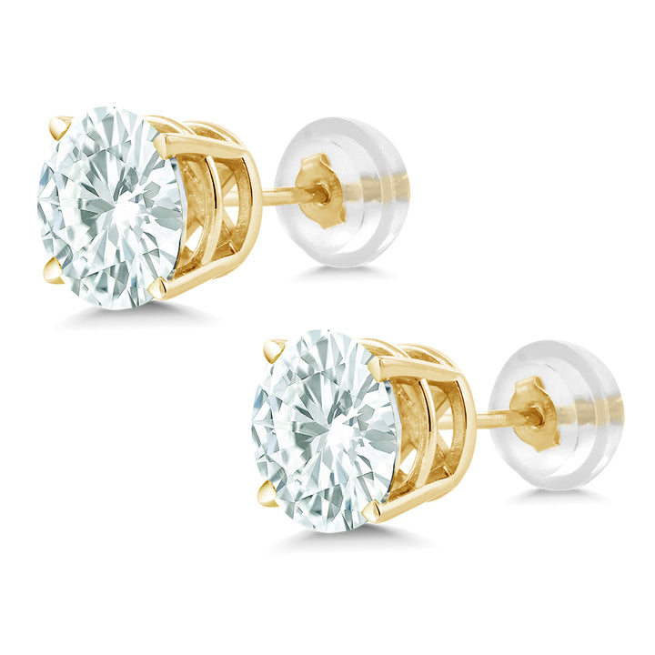 af800c97f Timeless Brilliant® 3.80ct DEW Round Moissanite Stud Earrings in 14K Yellow  Gold