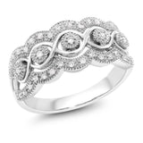 14K White Gold 0.16 Cttw White Diamond Intricately Interlaced Cocktail Ring Wedding Anniversary Band (Available 5,6,7,8,9)