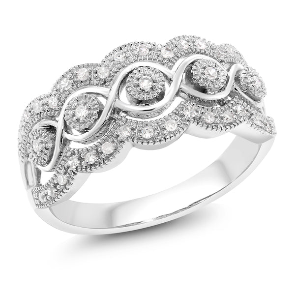 14K White Gold 0.16 Cttw White Diamond Intricately Interlaced Cocktail Ring