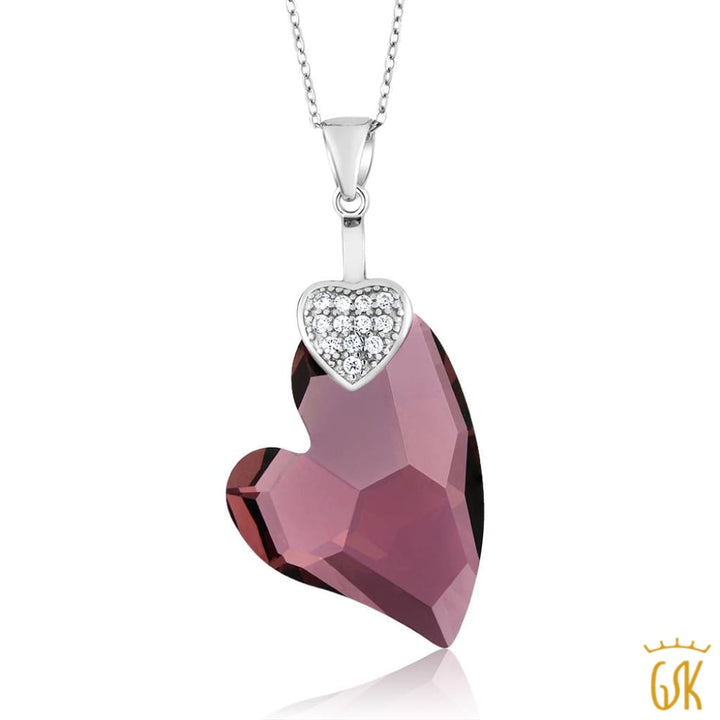 Nirano Collection 27Mm Heart 925 Silver Pendant Made With Swarovski® Crystals - Jewelry