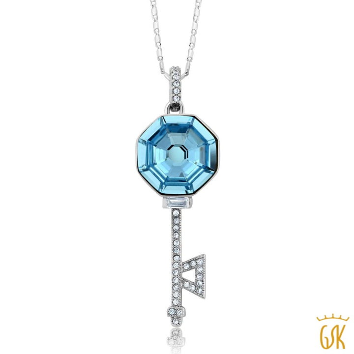 Nirano Collection Blue Crystal Key Pendant Made With Swarovski® Crystals - Jewelry