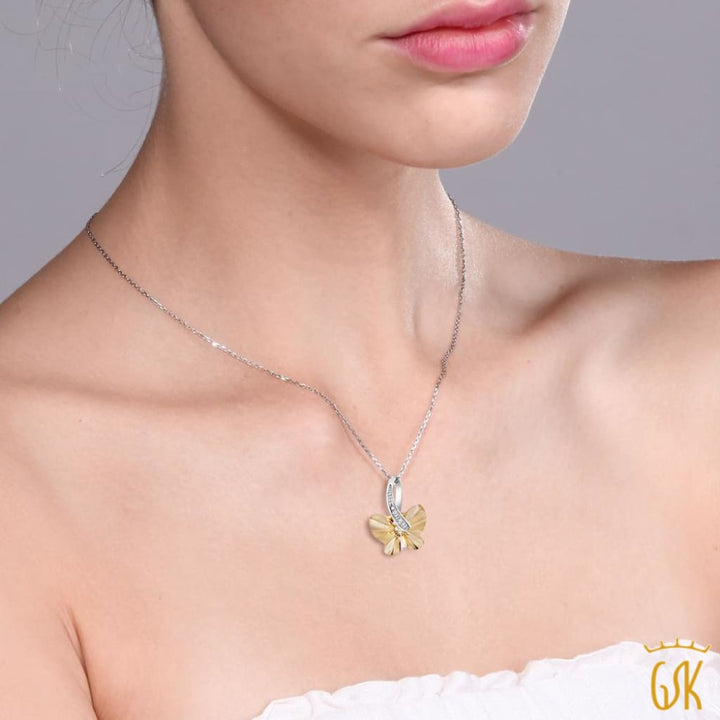 Nirano Collection Golden Shadow Butterfly Pendant Made With Swarovski® Crystals - Jewelry