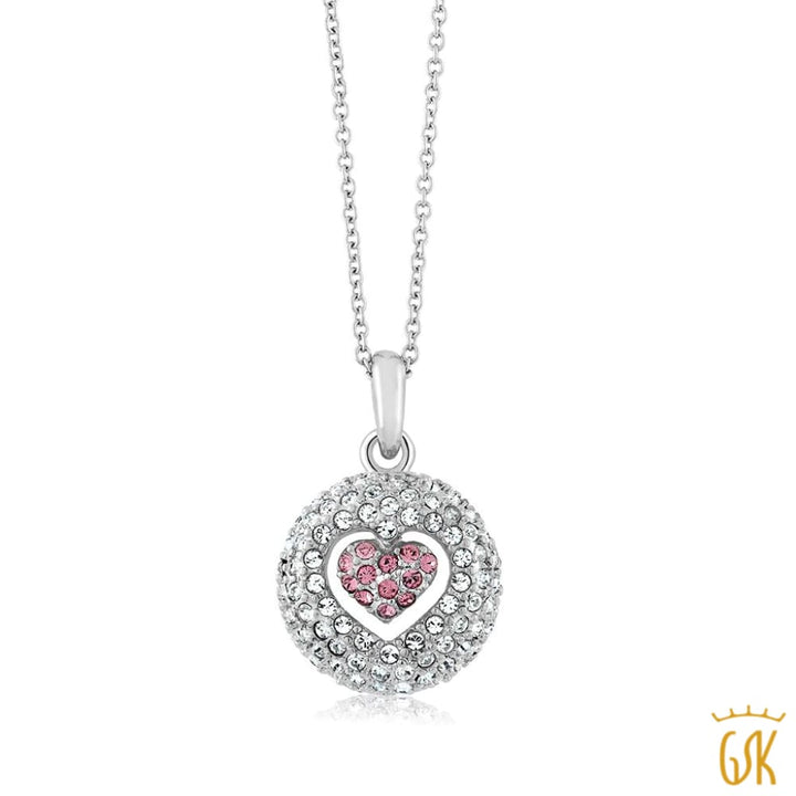 Nirano Collection Pink And White Heart Pendant Made With Swarovski® Crystals - Jewelry