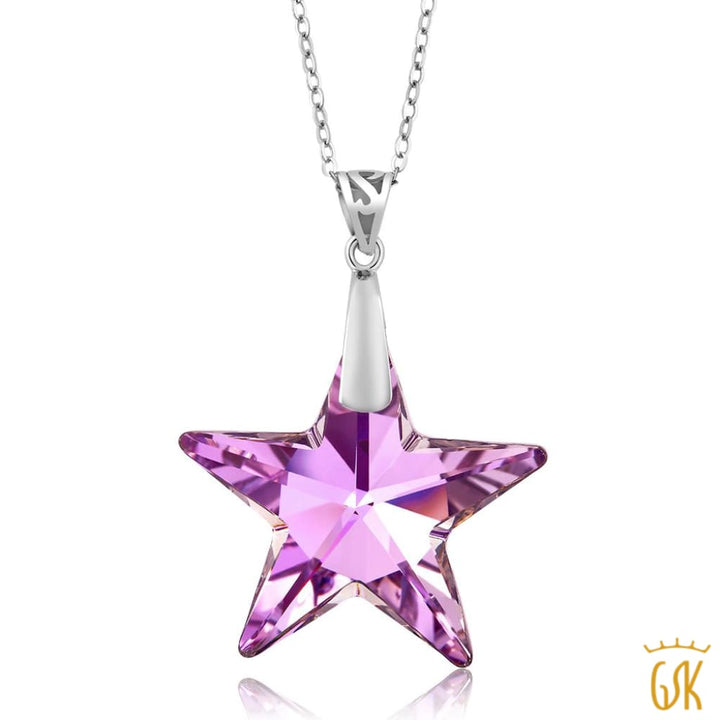 826cf2e89 Nirano Collection Pink Star 925 Silver Pendant Made With Swarovski® Crystals  - Jewelry