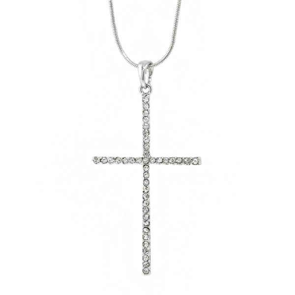 "Stunning 50x30 mm Cross with White Crystals Pendant and 16"" Snake Chain"