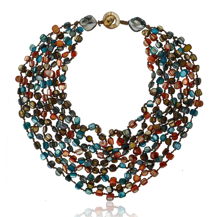 Multi-Color Beads Chip and Cultured Freshwater Pearl Necklaces and Wrap Bracelet