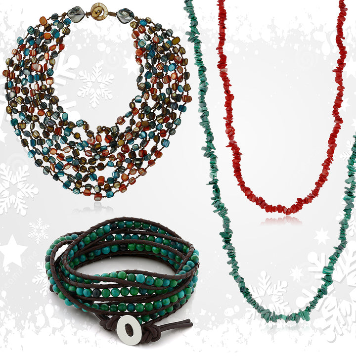 Gem Stone King Multi-Color Beads Chip and Cultured Freshwater Pearl Necklaces and Wrap Bracelet
