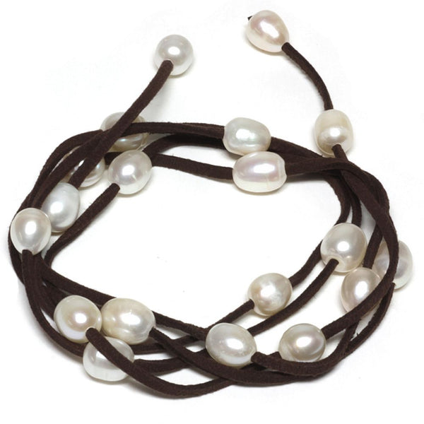 "48"" White Cultured Freshwater Pearl on Brown Leather Wrap Bracelet / Necklace"