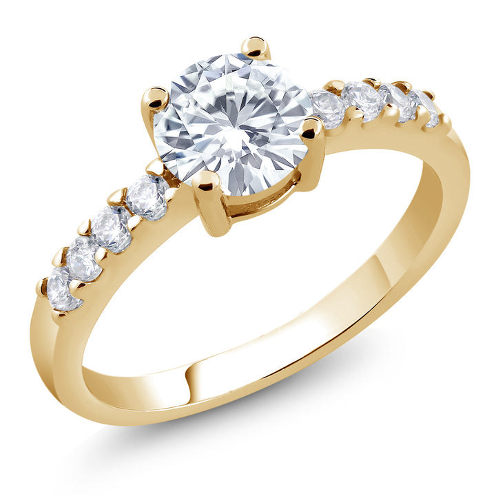 Gem Stone King Yellow Gold Plated with White Cubic Zirconia CZ Round Shaped Ring