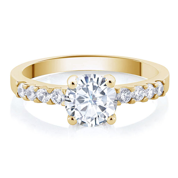 Yellow Gold Plated with White Cubic Zirconia CZ Round Shaped Ring
