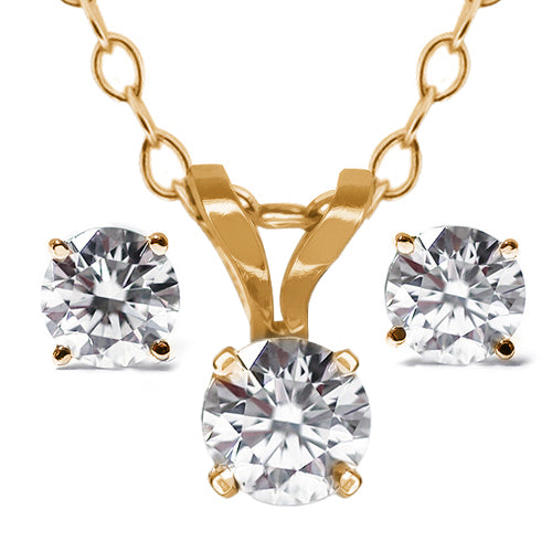 "Gem Stone King 14K Yellow Gold 0.50 Ct Diamond Pendant and Earring Set with 18"" Chain"
