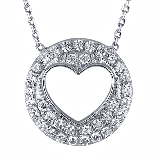 "925 Silver Circle Open Heart Zirconia Pendant Necklace 16"" + 2"" Extender"