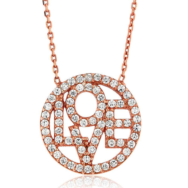 Gem Stone King Sterling Silver Rose Gold Plated Circle Love Pendant Necklace + 16inches+2inches Extender