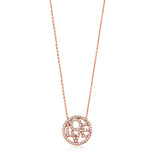 "925 Silver Rose Gold Plated Circle Love Pendant Necklace + 16""+2"" Extender"