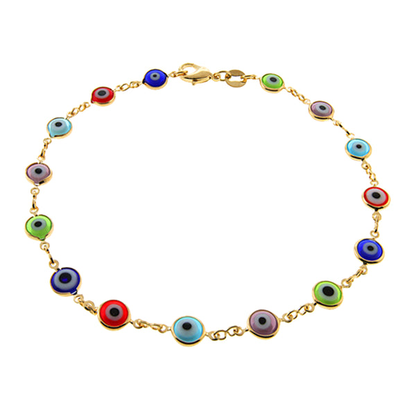"10"" Multi-Color & Yellow Gold Plated Evil Eye Anklet Bracelet 10 Inch"