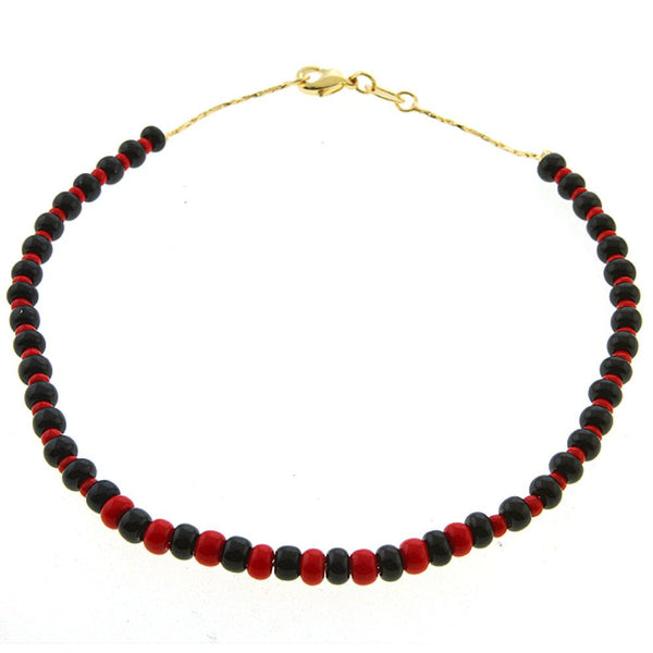 "Stunning 10"" Gold Color Chain Ankle Anklet Bracelet with Black & Red Color Beads"