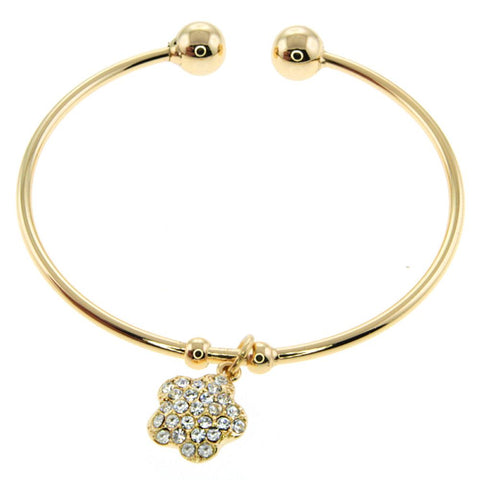 c02e4bd94a561 Gem Stone King Yellow Gold Plated Brass Open Bangle Bracelet with Flower  Shape Crystals