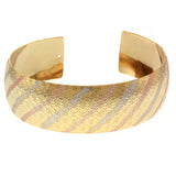 Gem Stone King Big 2.5 Inch 2-Tone Gold Plated Brass Cuff Bangle Bracelet 20mm 2-Tone