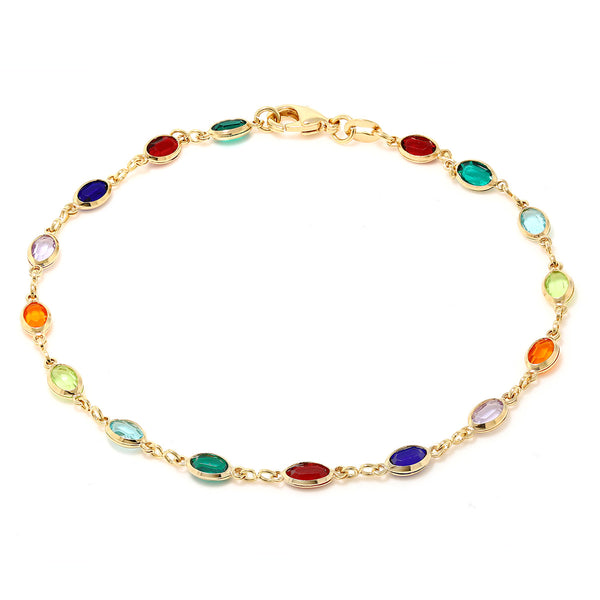 10 Inch Multi-Color Crystal & Gold Plated Anklet Bracelet