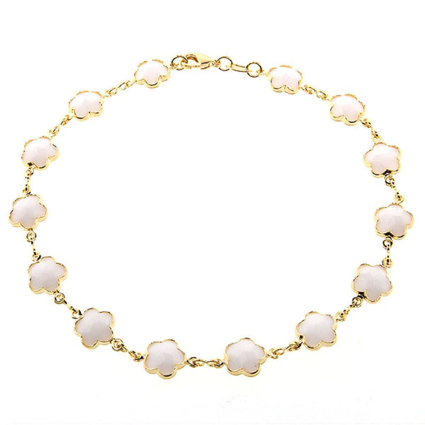9.5 Inch Stunning White-Color Flower Stone Yellow Gold Plated Anklet Bracelet