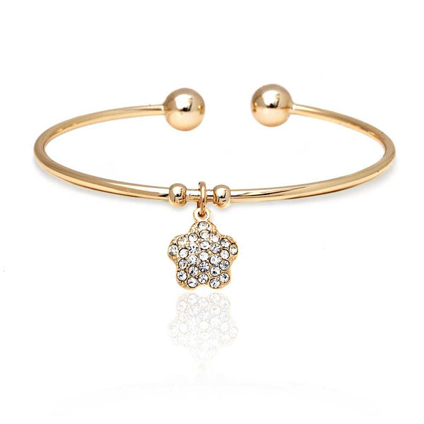 Yellow Gold Plated Open Bangle Bracelet with Star Shape White Crystal Pendant