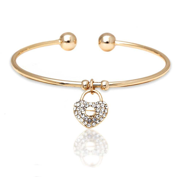 Yellow Gold Plated Open Bangle Bracelet with heart Shape White Crystal Pendant