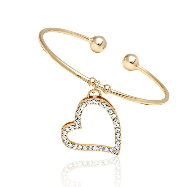 Yellow Gold Plated Open Bangle Bracelet with White Crystal heart Shape Charm