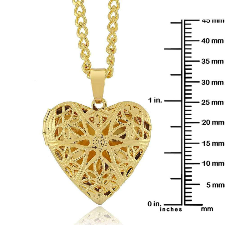 "1"" Gold Tone Filigree Heart Shaped Locket Pendant Necklace With 18 Inch Chain"