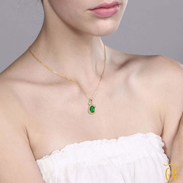 Simulated Emerald White Created Sapphire 18K Yellow Gold Plated Silver Pendant - Jewelry