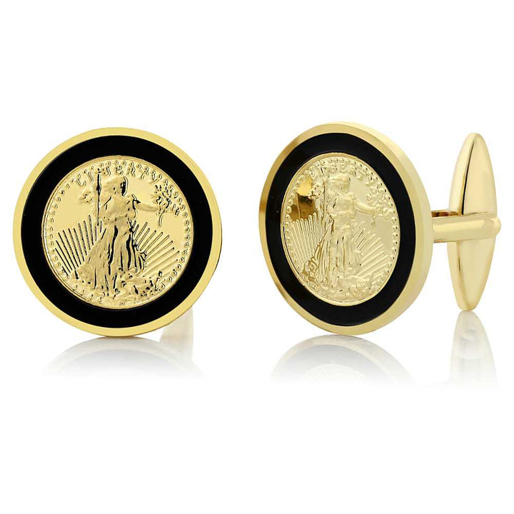 Gem Stone King 24k Yellow Gold Plated Walking Liberty Coin Cufflinks For Men 22MM in Diameter
