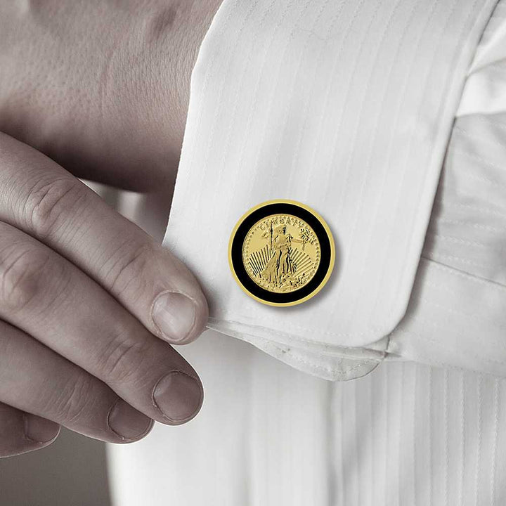 24k Yellow Gold Plated Walking Liberty Coin Cufflinks For Men 22MM in Diameter