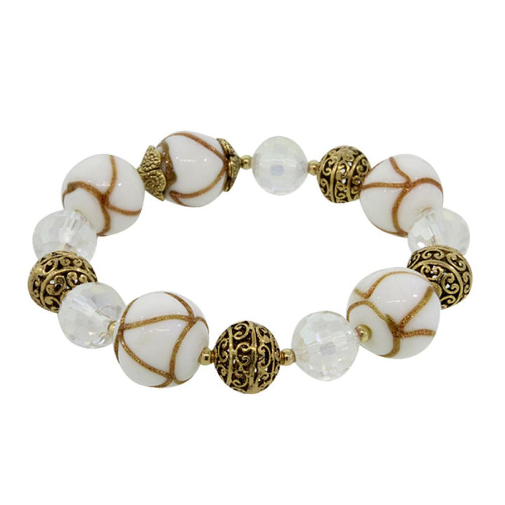 Gem Stone King White Balls and Crystal Beads Fashion Bracelet With Plastic Stretchy Chain