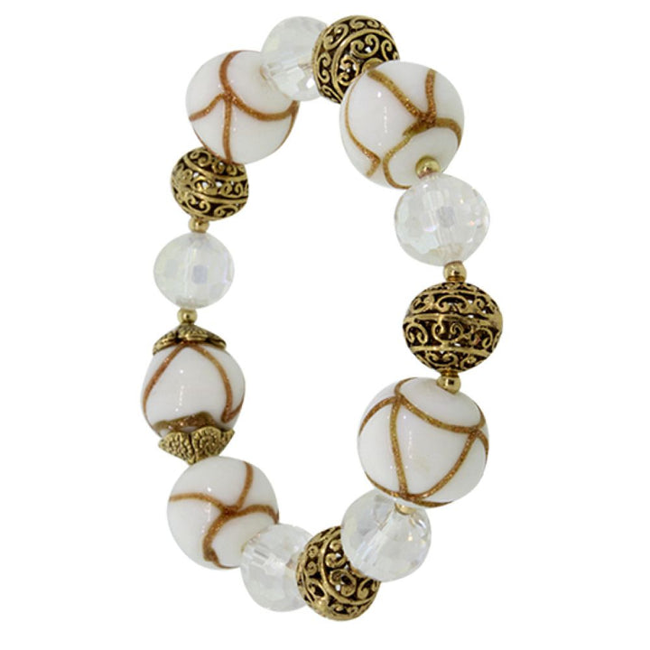 White Balls and Crystal Beads Fashion Bracelet With Plastic Stretchy Chain