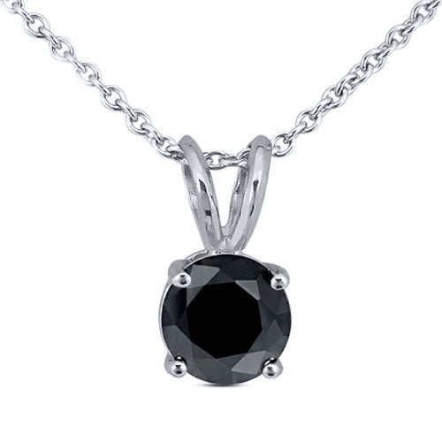 "0.25ctw Round Black Diamond in 925 Sterling Silver Pendant with 18"" Chain"