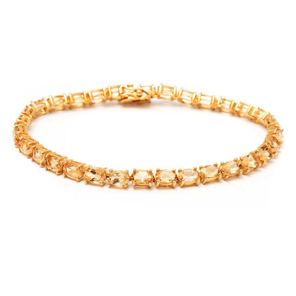 12.00 Ct 18k Gold Plated Sterling Silver Gemstone Tennis Bracelet, 7""