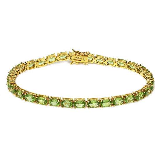 Gem Stone King 12.00 Ct 18k Yellow Gold Plated Sterling Silver Tennis Bracelet, 7inches