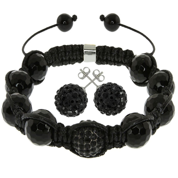 Black Pave Disco Ball Beads Hip Hop Style Adjustable Bracelet and Earrings Set