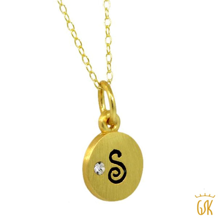 Sterling Silver Yellow Gold Plated Initial Letter S Charm With 18 Silver Chain - Jewelry