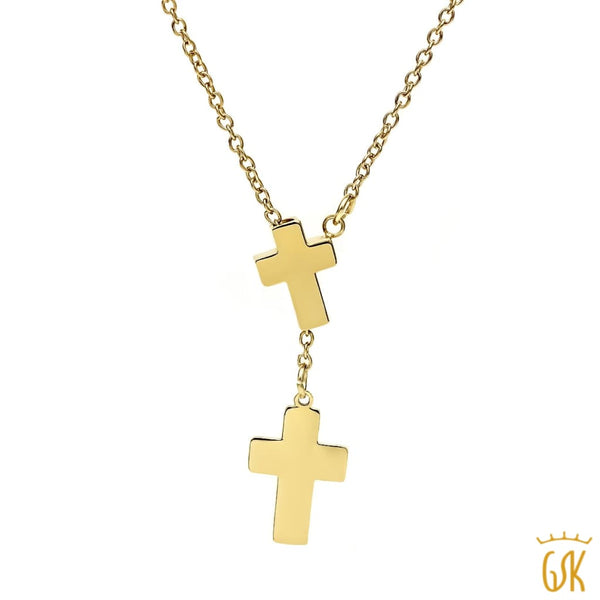 Stunning Gold Tone Double Cross Pendant Necklace with 18 Inch Chain