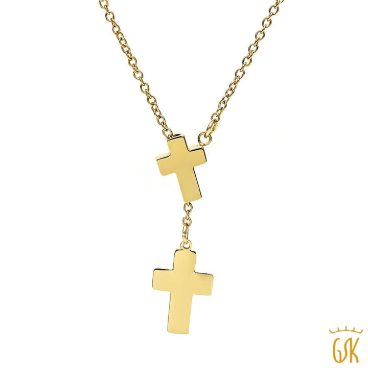 Stunning Gold Tone Double Cross Pendant Necklace With 18 Inch Chain - Jewelry